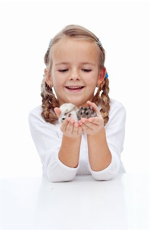 My little lovely buddies - girl and her hamsters Stock Photo - Budget Royalty-Free & Subscription, Code: 400-05882561