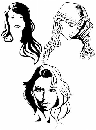 Three portraits of beautiful women.Vector illustration. Stock Photo - Budget Royalty-Free & Subscription, Code: 400-05882672