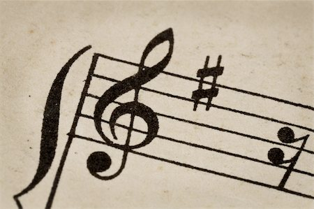 treble clef - macro of sheet music on vintage paper Stock Photo - Budget Royalty-Free & Subscription, Code: 400-05882876