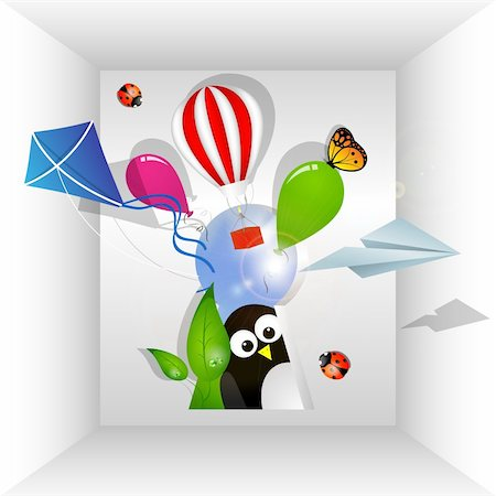 Room with balloons, kite, paper airplane and insects Stock Photo - Budget Royalty-Free & Subscription, Code: 400-05883728