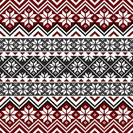 elakwasniewski (artist) - Nordic traditional pattern with snowflakes, white, grey and red design, full scalable vector graphic, all elements are grouped for easy editing Stock Photo - Budget Royalty-Free & Subscription, Code: 400-05883782