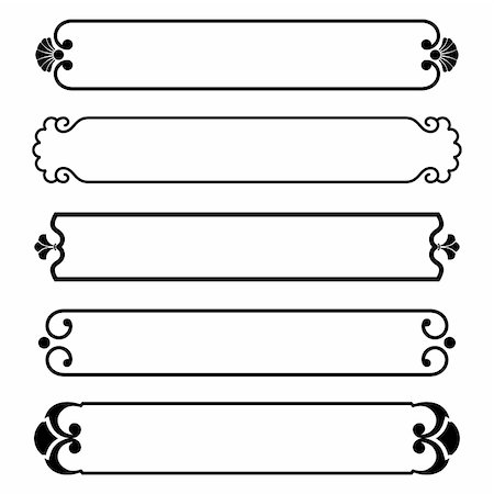 vector set of simple black banners border frame Stock Photo - Budget Royalty-Free & Subscription, Code: 400-05883929