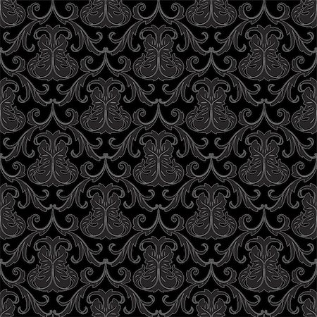 swirly - seamless black floral abstract wallpaper pattern background Stock Photo - Budget Royalty-Free & Subscription, Code: 400-05883930