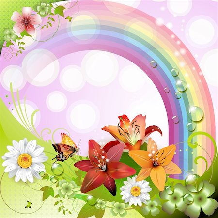 Springtime background with flowers and butterflies Stock Photo - Budget Royalty-Free & Subscription, Code: 400-05894187