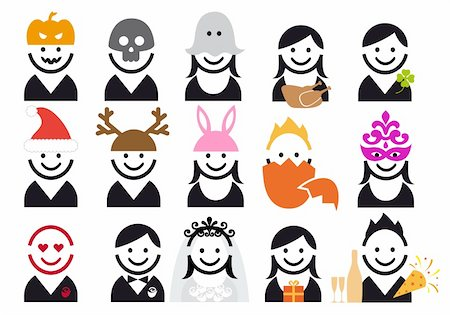 celebration people, vector icon set Stock Photo - Budget Royalty-Free & Subscription, Code: 400-05894196
