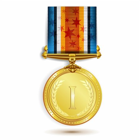 Gold medal with ribbon on white Stock Photo - Budget Royalty-Free & Subscription, Code: 400-05894192