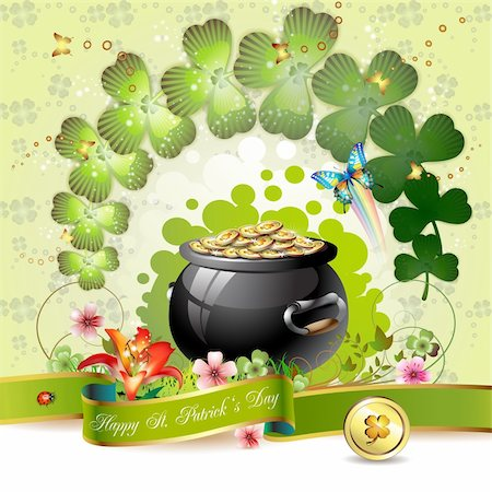 St. Patrick's Day card design with clover and coins Stock Photo - Budget Royalty-Free & Subscription, Code: 400-05894218