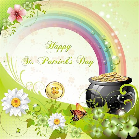 St. Patrick's Day card design with clover and coins Stock Photo - Budget Royalty-Free & Subscription, Code: 400-05894211