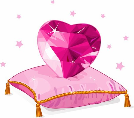 Ruby Love heart on the pink pillow Stock Photo - Budget Royalty-Free & Subscription, Code: 400-05894223
