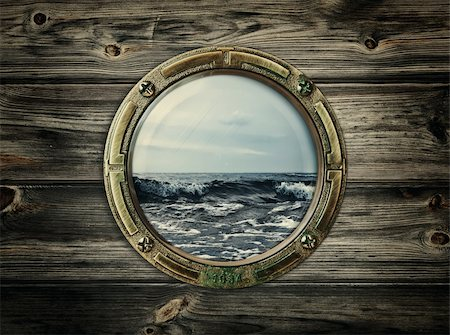 sailing boat storm - porthole with view at the sea Stock Photo - Budget Royalty-Free & Subscription, Code: 400-05895013