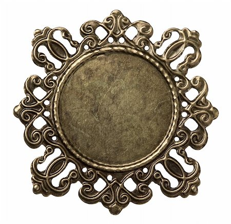 Vintage brass metal frame, isolated. Stock Photo - Budget Royalty-Free & Subscription, Code: 400-05895977