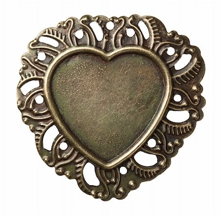 Heart shape vintage metal frame, isolated. Stock Photo - Budget Royalty-Free & Subscription, Code: 400-05895978