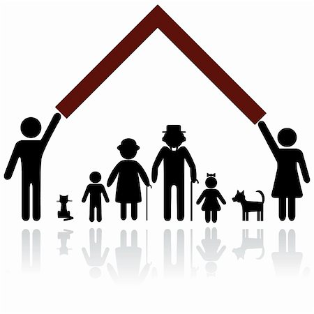 Protection people silhouette family icon. Person vector woman, man. Child, granfather, grandmother, dog, cat, babby buggy, carriage. Home illustration. Stock Photo - Budget Royalty-Free & Subscription, Code: 400-05896039