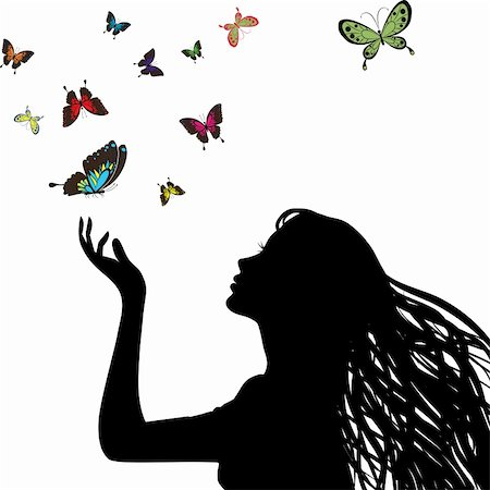 Sexy vector woman silhouette hand. Profile pretty girl hair, head. Drawing butterfly. Female face. Retro art wallpaper. Young person. Stock Photo - Budget Royalty-Free & Subscription, Code: 400-05896044