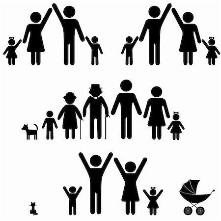 People silhouette family icon. Person vector woman, man. Child, granfather, grandmother, dog, cat, babby buggy, carriage. Generation illustration. Stock Photo - Budget Royalty-Free & Subscription, Code: 400-05896040