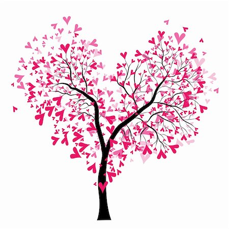 Abstract vector heart tree, Valentine Day. Love, wedding background Stock Photo - Budget Royalty-Free & Subscription, Code: 400-05896064