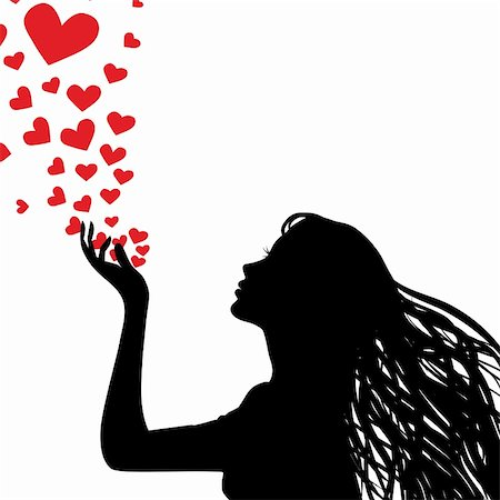Woman silhouette hand. Pretty girl blowing heart. Drawing background. Vector illustration. Stock Photo - Budget Royalty-Free & Subscription, Code: 400-05896065