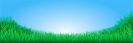 A lush green field meadow or lawn with bright blue sky Stock Photo - Budget Royalty-Free & Subscription, Code: 400-05896207