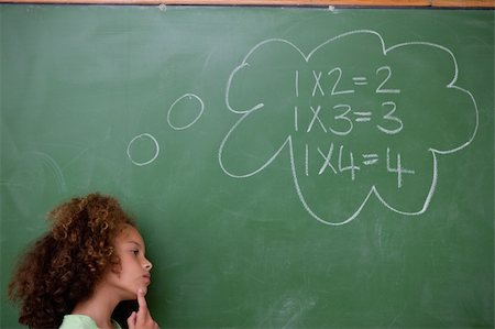 Schoolgirl thinking about algebra in front of a blackboard Stock Photo - Budget Royalty-Free & Subscription, Code: 400-05896427