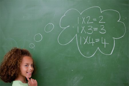Schoolgirl thinking about mathematics in front of a blackboard Stock Photo - Budget Royalty-Free & Subscription, Code: 400-05896429