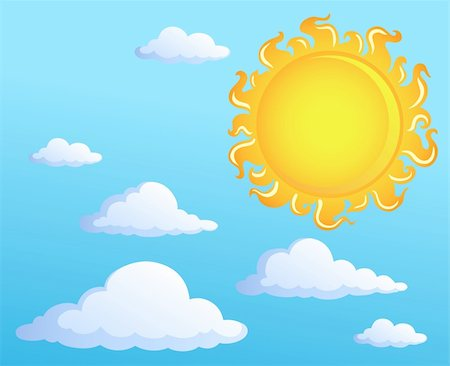 Sun with clouds theme 1 - vector illustration. Stock Photo - Budget Royalty-Free & Subscription, Code: 400-05897119
