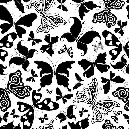 Repeating white pattern with black silhouettes butterflies (vector) Stock Photo - Budget Royalty-Free & Subscription, Code: 400-05897128
