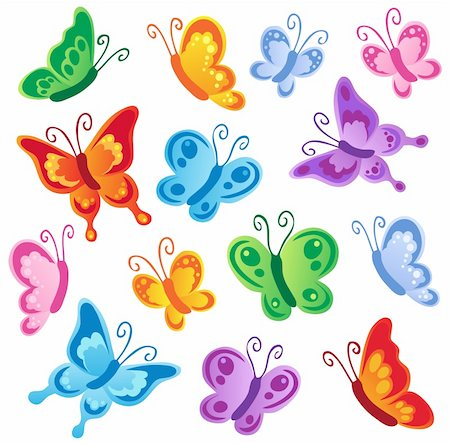 Various butterflies collection 1 - vector illustration. Stock Photo - Budget Royalty-Free & Subscription, Code: 400-05897122