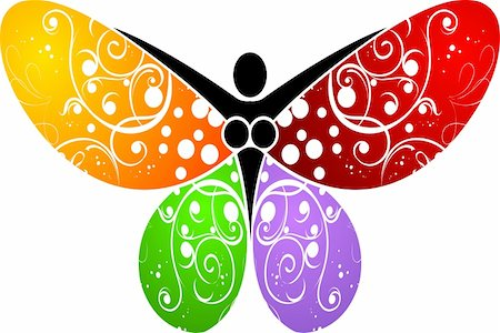 Illustration art of a butterfly logo with isolated background Stock Photo - Budget Royalty-Free & Subscription, Code: 400-05897416