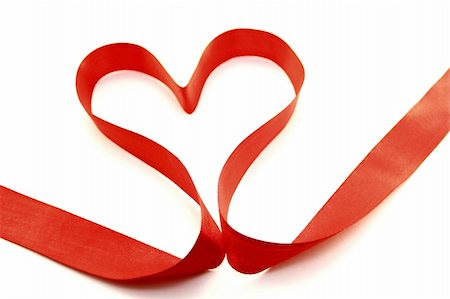 Beautiful heart from red satin ribbon on a white background Stock Photo - Budget Royalty-Free & Subscription, Code: 400-05899123