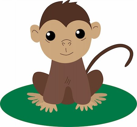 smiling chimpanzee - Cute brown baby monkey sitting and smiling Stock Photo - Budget Royalty-Free & Subscription, Code: 400-05899288
