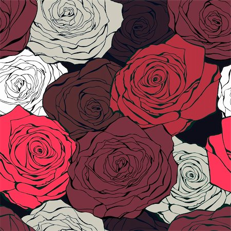 Vintage background from hand drawn roses on a dark Stock Photo - Budget Royalty-Free & Subscription, Code: 400-05899854