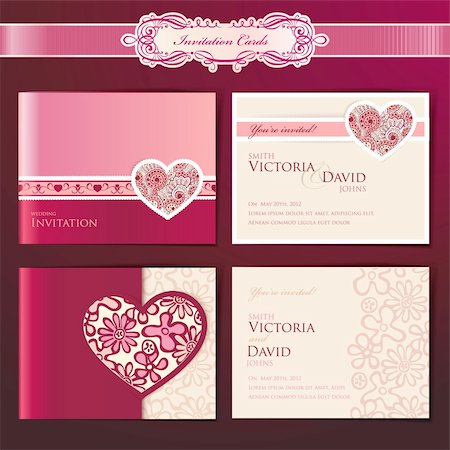 Set of wedding invitation cards, vector templates Stock Photo - Budget Royalty-Free & Subscription, Code: 400-05890679
