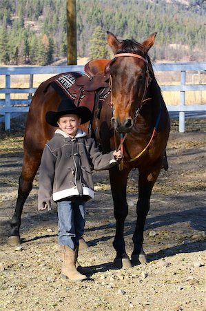 Young boy wearing a cowboy hat with his horse Stock Photo - Budget Royalty-Free & Subscription, Code: 400-05890831