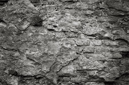 Detail of an old cracked cement wall texture, monochrome image Stock Photo - Budget Royalty-Free & Subscription, Code: 400-05890921