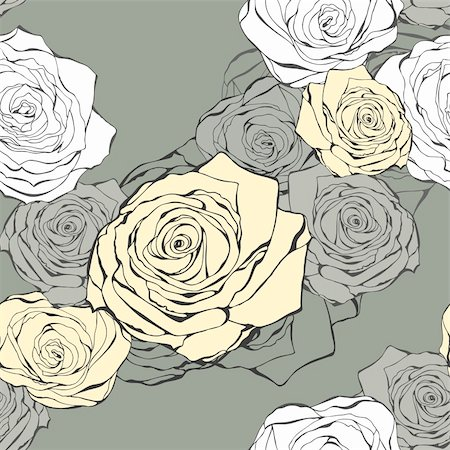 Seamless background from hand drawn roses on a grey Stock Photo - Budget Royalty-Free & Subscription, Code: 400-05891075