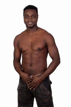 Attractive african man with bare chest isolated on  white background Stock Photo - Budget Royalty-Free & Subscription, Code: 400-05891285