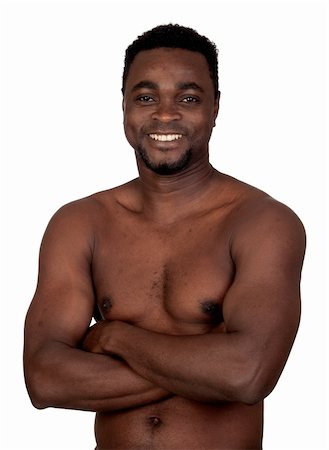 Attractive african man with bare chest isolated on a  white background Stock Photo - Budget Royalty-Free & Subscription, Code: 400-05891287