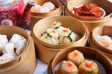 dumplings steamer - A variety of dim sum in bamboo steam containers Stock Photo - Budget Royalty-Free & Subscription, Code: 400-05891508