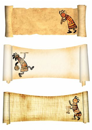 Dancing musician. Collection of banners with african traditional patterns Stock Photo - Budget Royalty-Free & Subscription, Code: 400-05892101