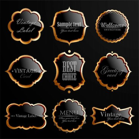 Set of black gold labels. Vector illustration. Stock Photo - Budget Royalty-Free & Subscription, Code: 400-05904254