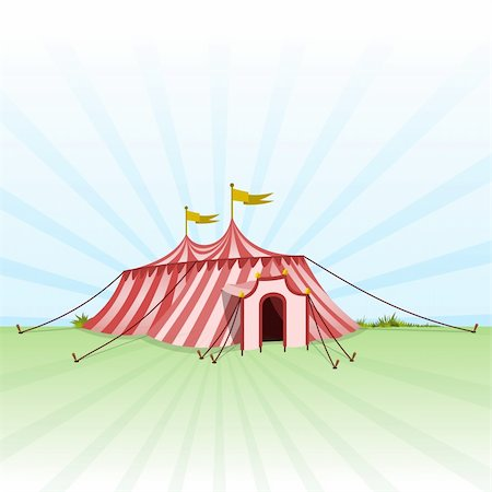 Red and White stripes on classic Circus Tent on Green Grass Stock Photo - Budget Royalty-Free & Subscription, Code: 400-05904435