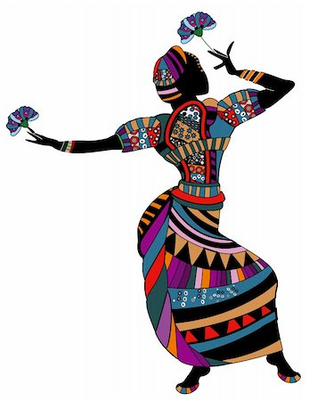 woman in ethnic clothes dancing with flowers Stock Photo - Budget Royalty-Free & Subscription, Code: 400-05904843