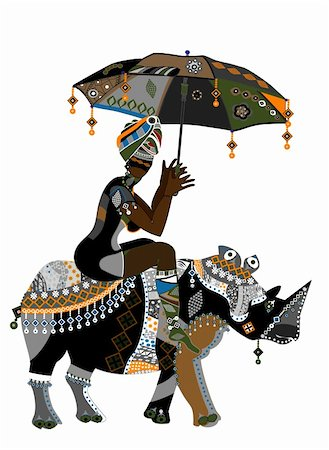 Woman in ethnic style with an umbrella in his hand on his back rhino Stock Photo - Budget Royalty-Free & Subscription, Code: 400-05904862