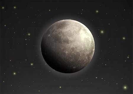 Vector illustration of cool single weather icon - realistic moon in the night sky Stock Photo - Budget Royalty-Free & Subscription, Code: 400-05904883
