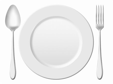 Dinner place setting. A white china plate with silver fork and spoon, isolated on white background Stock Photo - Budget Royalty-Free & Subscription, Code: 400-05904974
