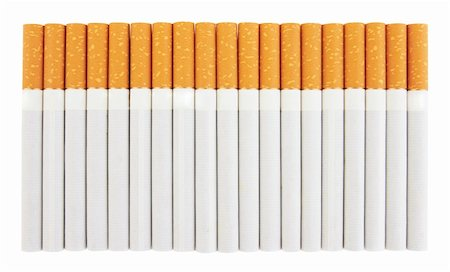 Closeup of a pile of cigarettes isolated on white background Stock Photo - Budget Royalty-Free & Subscription, Code: 400-05904972