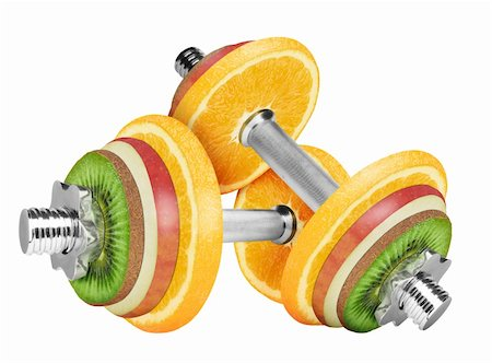 Fruit dumbbell isolated on white background. With clipping path Stock Photo - Budget Royalty-Free & Subscription, Code: 400-05904987