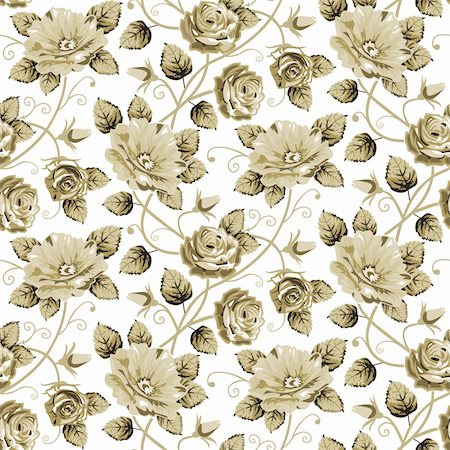 Retro vector floral pattern background or wallpaper, brown roses, repeating seamless pattern isolated on white Stock Photo - Budget Royalty-Free & Subscription, Code: 400-05905195