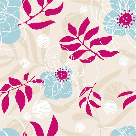 abstract lovely seamless floral pattern vector illustration Stock Photo - Budget Royalty-Free & Subscription, Code: 400-05905246
