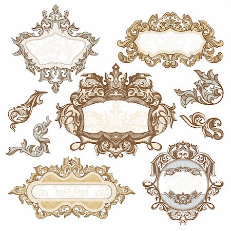 elegant wedding floral graphic - set of royal vintage frames vector illustration Stock Photo - Budget Royalty-Free & Subscription, Code: 400-05905250